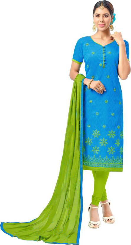 298bc8506 Wonderful Sky Blue   Parrot Jecard Embroidered With Straight Salwar Suit ...