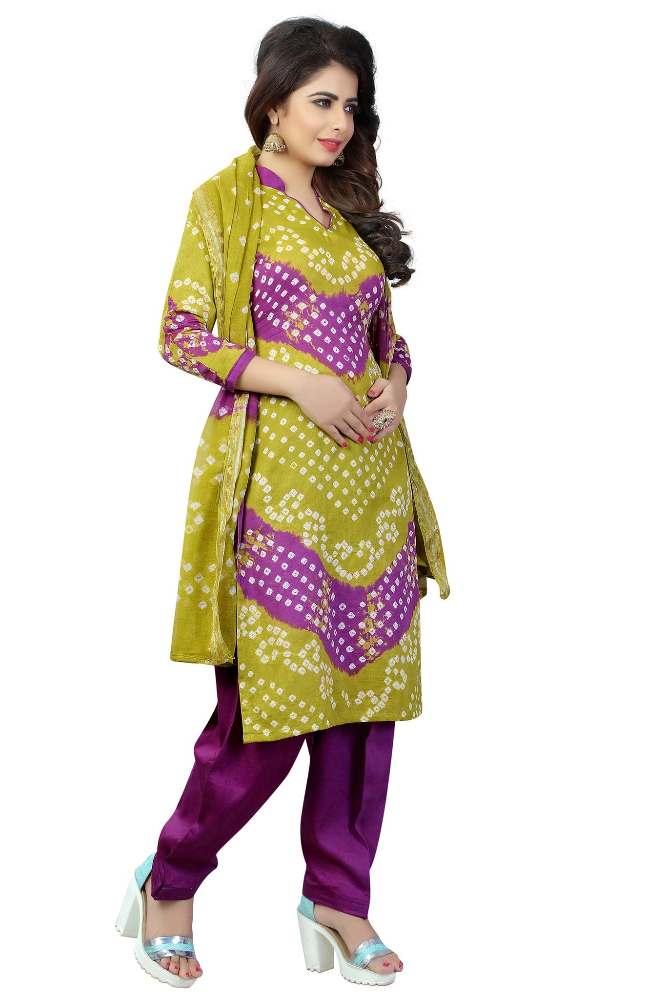 73c1789feb ... Comely Mahendi & Purple Satin Cotton Handi Crafts Bandhani Work  With Straight Salwar Suit ...
