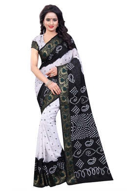 Cocktail White &  Black Art Silk Handi Crafts Bandhani Work With Skin Tone Saree