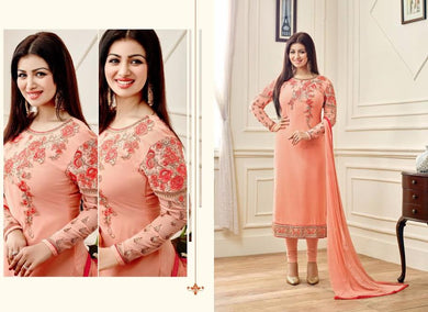 Brilliant Orange Georgette Embroidered  Work With Straight Salwar Suit