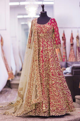 Casual Wear Princess Pink Banglori Silk Embroidered  Long Anarkali Gown