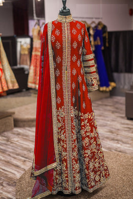 Bridal Collection Red Banglori Silk Embroidered  Long Anarkali Suit