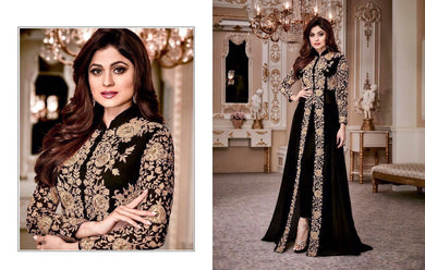 Cocktail Wear Black Heavy Georgette Codding Work With Long Cut Straight Suit