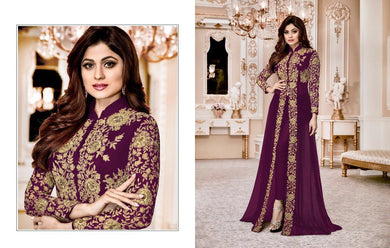 Absorbing Purple Heavy Georgette Codding Work With Long Cut Straight Suit