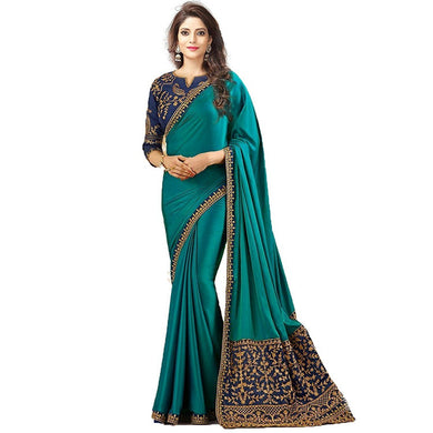 Smashing Sky Blue Sana Silk Embroidered Work With Shiny Saree