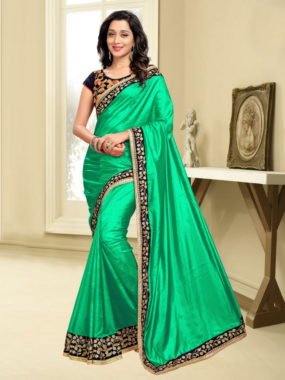 7391c161c5c2f Good Looking Green Shining Paper Silk Embroidered Dazzling Saree ...
