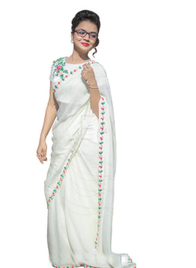 Ceremoney Wear White Chanderi Cotton Embroidered Work Amazing Saree