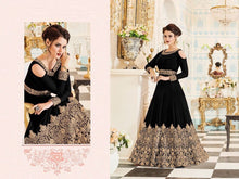 Classicist Onyx Black  Fox Georgette Embroidery Work With Long Anarakali Suit