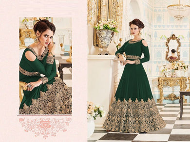 Intimidating Green Fox Georgette Embroidery Work With Long Anarakali Suit