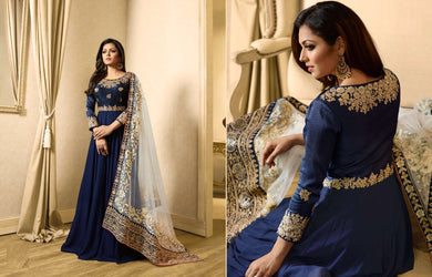Boosted Navy Blue Banglory Silk + Vaishanavi Georgette Codding Work With Long Anarkali Gown
