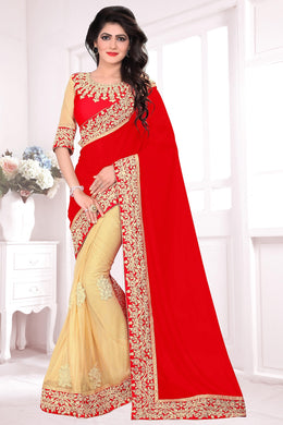Gorgeous Red  &  Cream Lycra &  Georgette Embroidered Amazing Saree