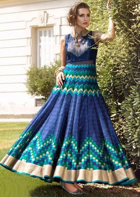 Hottest Sweetly Navy Blue & Multi Bhagapuri Heavy Digital Printed Long Gown