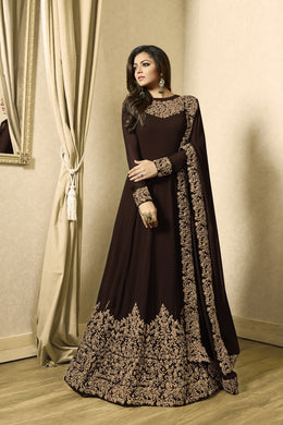 Faultles Chocolate Heavy Fox Georgette Heavy Coding + Siquence  Work With Long Anarkali Gown
