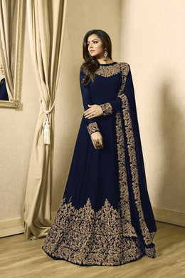 Delight Navy Blue Heavy Fox Georgette Heavy Coding + Siquence  Work With Long Anarkali Gown