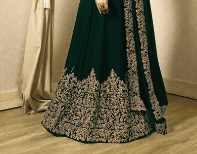 Challenging Green Heavy Fox Georgette Heavy Coding + Siquence  Work With Long Anarkali Gown