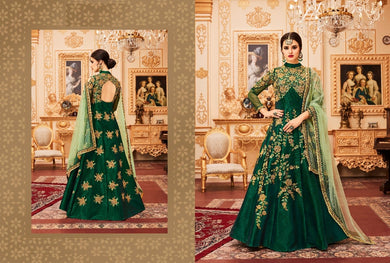 Comprehensive Green Pari Silk Coding + Chain Stich Embroidery Work With Long Anarkali Gown
