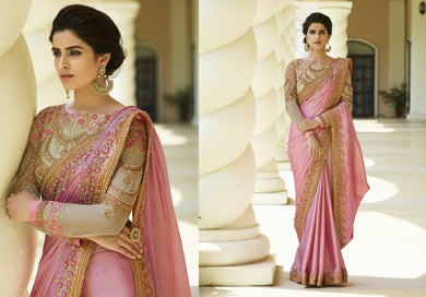 Beading Pink &  Cream Chinnon Heavy Embroidered Work With Edged Saree