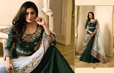 Different Style Green Banglory Silk + Vaishanavi Georgette Codding Work With Long Anarkali Gown