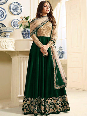 Fabulose Green &  Cream Heavy Mono Net Embroidery Coding Work + Long Anarkali Suit