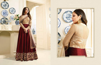 Awesome Dark Maroon &  Cream Heavy Mono Net Embroidery Coding Work + Long Anarkali Suit