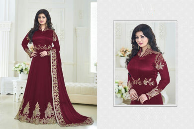 Admirable Maroon Georgette Embroidered Work With Long Anarkali Gown