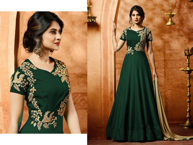 Classicist Green Heavy Foux Georgette Embroidery Work With Long Anarkali Suit