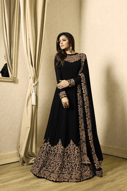 Far-out Black Heavy Fox Georgette Heavy Coding + Siquence  Work With Long Anarkali Gown