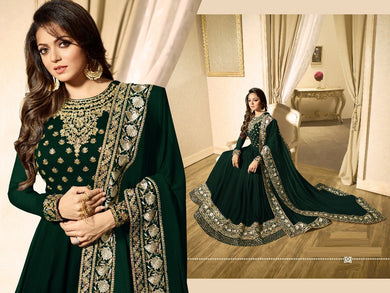 Enjoyable Green Heavy Foux Georgette Embroidery Work With Long Anarkali Suit