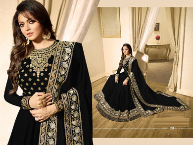 Convenient Black Heavy Foux Georgette Embroidery Work With Long Anarkali Suit