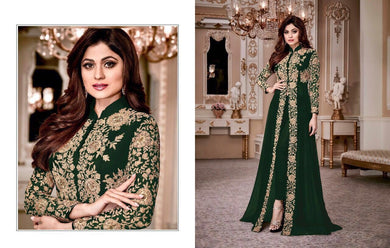 Expreesive Green Heavy Georgette Codding Work With Long Cut Straight Suit