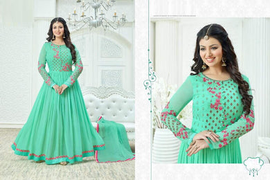 Extraordinary Sky Blue Sartin Georgette Embroidery Work Long Anarkali Gown