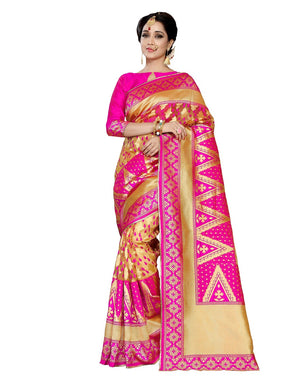 Heartly Pink &  Gold Banarasi Silk Flower Print Work With Lovely Saree