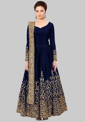 Augmented Navy Blue Taffeta Silk Embroidered Solid Long Anarkali Suit