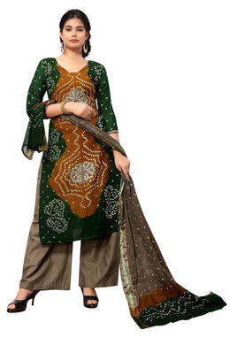Classy Green Satin Cotton Handi Crafts  Bandhani Work With Straight Salwar Suit