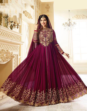 Gladdening Purple Georgette Embroidery Work With Long Anarakali Suit