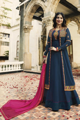 Awe-inspiring Navy Blue & Pink Georgette Embroidery Work With Long Anarakali Suit