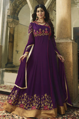Adequate Purple Georgette Embroidery Work With  Long Anarakali Suit