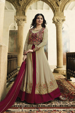 Adequate Cream & Rani Pink Georgette Embroidery Work With Indo Western Type Suit
