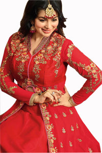 Caribbean Red Georgette Embroidery Work With Indo Western Type Suit