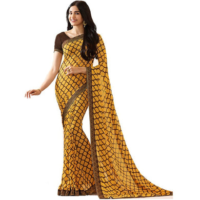 Attractive Yellow Color Georgette Printed Saree With Blouse