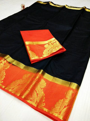 Attractive Black And Orange Color Raw Silk Saree With Blouse