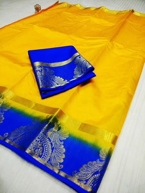 Awesome Yellow And Blue Raw Silk Saree With Blouse