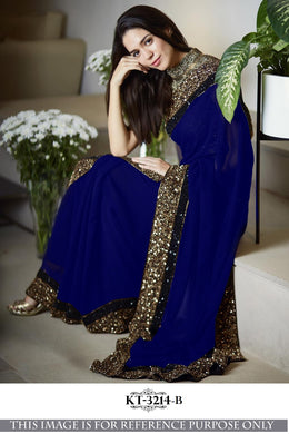 Attractive Blue Georgette Silk Sequence Saree Withblouse
