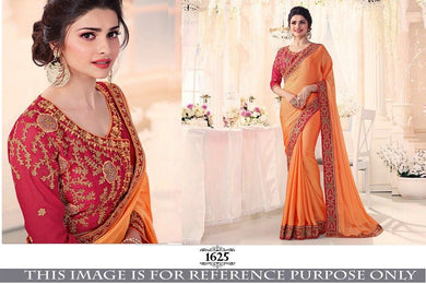 Attractive Red And Yellow Silk Saree With Embroidery Work Blouse