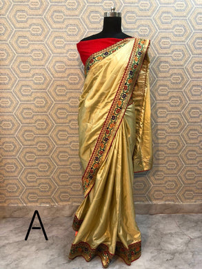 Attractive Golden Color Fancy Lace Border Saree With Blouse