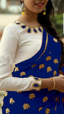 Awesome Blue And White Georgette Saree With Work Blouse