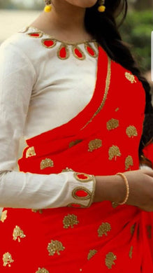 Attractive Red And White Georgette Saree With Work Blouse