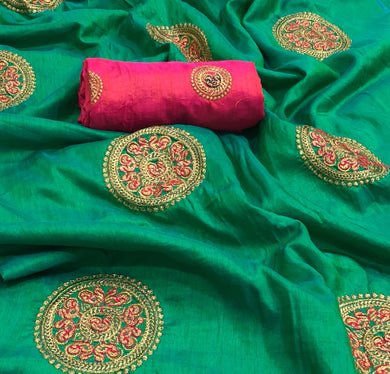 Awesome Green Color Embroidery Saree With Work Blouse
