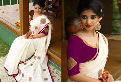Awesome White And Pink Designer Chanderi Cotton Saree