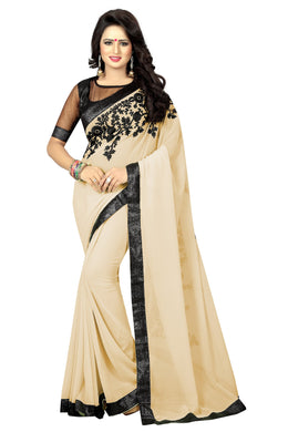 Awesome Beige Embroidey Saree